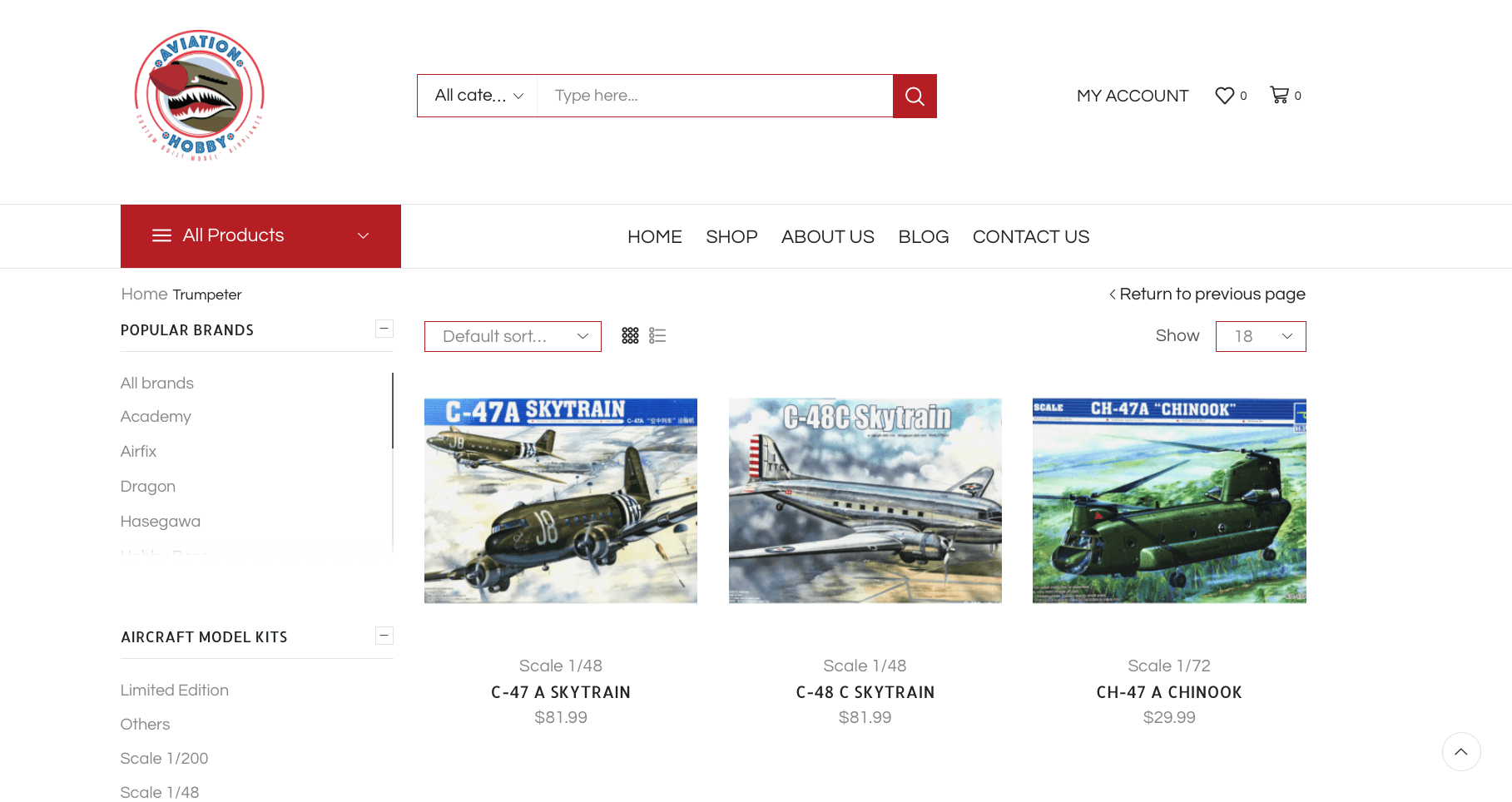 Web design Online Store Aviation Hobby